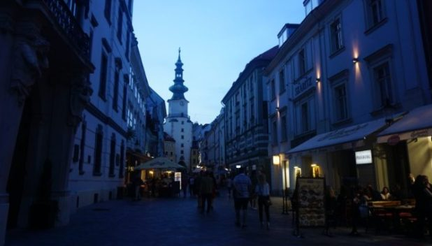 Bratislava street scene by night