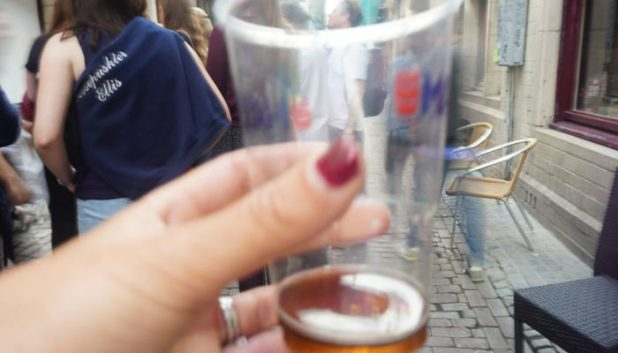 beer in a alleyway in Brussels