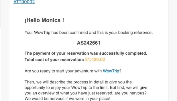 WowTrip price confirmation