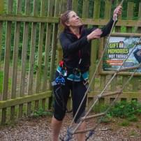 Me heading up onto the treetop platform