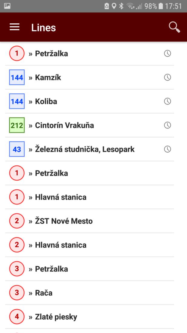 Public transport app for Bratislava