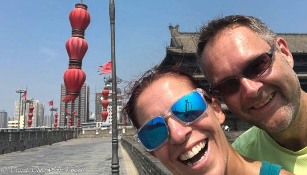 Two grinning idiots on the Xian city walls