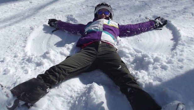 making snow angels in Japan