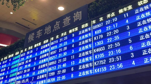 Waiting hall signs in Beijing train station