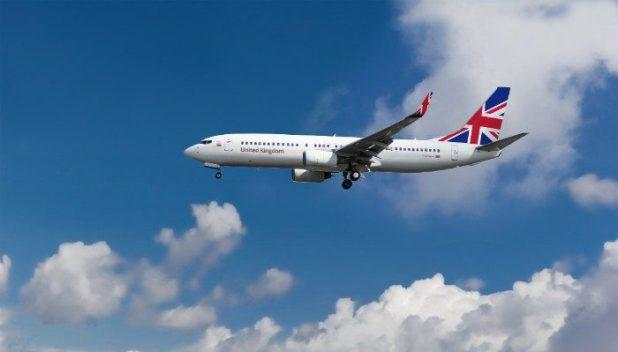 British Airways plane flying