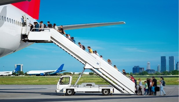 Rear steps for boarding a plane
