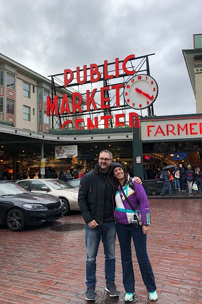 In front of Pike place market, Seattle