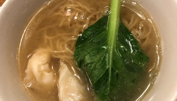 Noodle soup in Cathay Pacific dining area