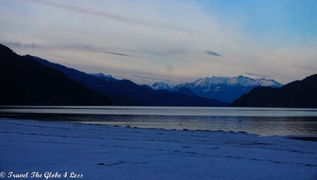 Harrison Hot Springs lake at sunset