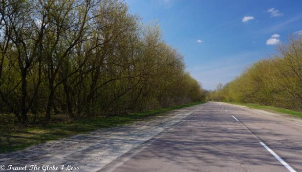 The road to Zalissya in the exclusion zone