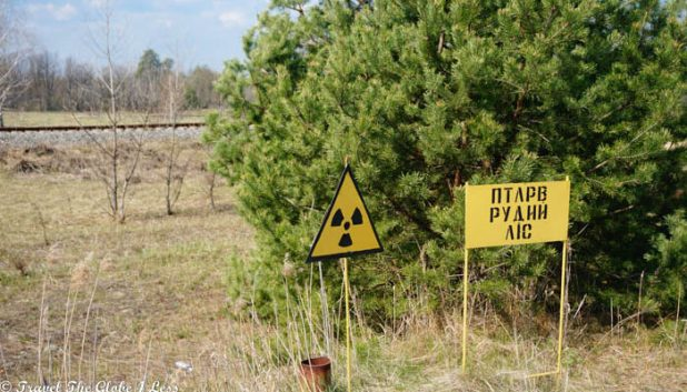 Radiation signs in the Chernobyl exclusion zone