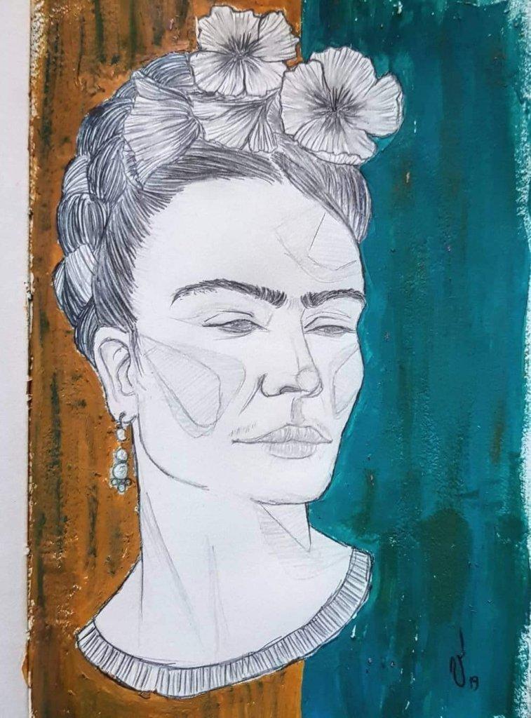 Frida Kahlo,matita e acrilico. Artista: Valentina Ardino