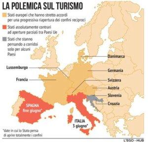 mappa accordi flussi turismo europa estate 2020