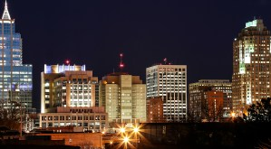 City Skyline Raleigh at night
