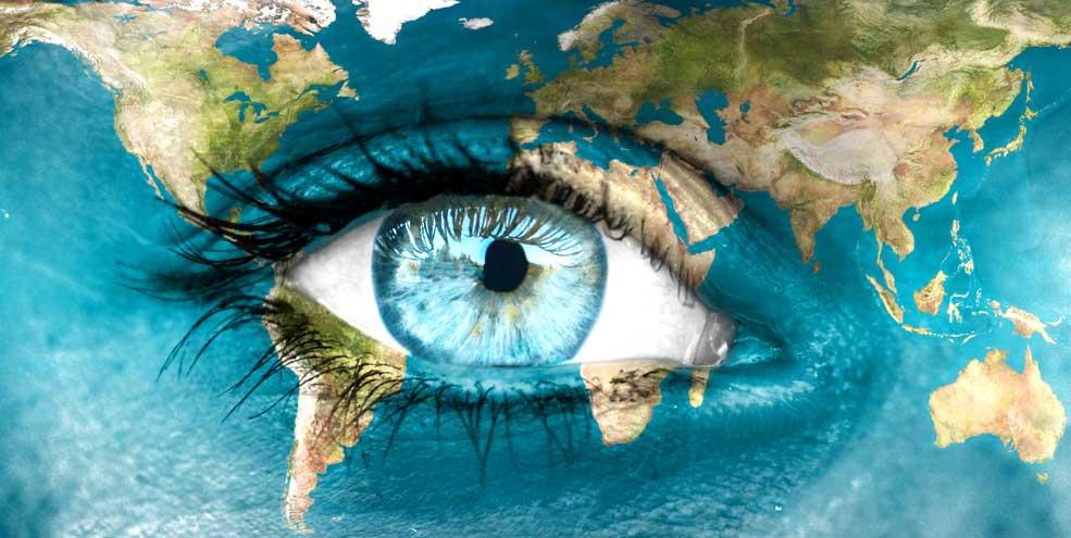 human eye on planet earth