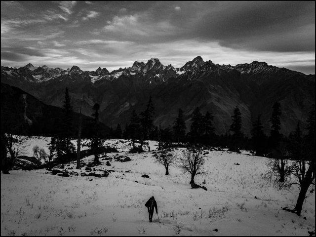 winter scapes near Auli, Uttarakhand, India