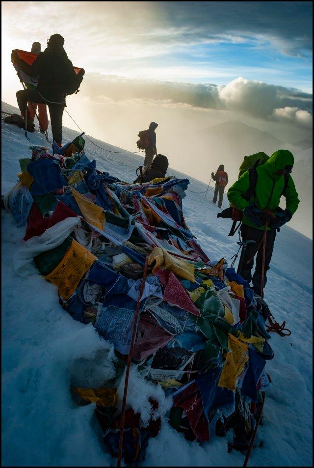 Prayer flag at Stok Kangri summit (~6,100 mts), Ladakh, Jammu & Kashmir, India