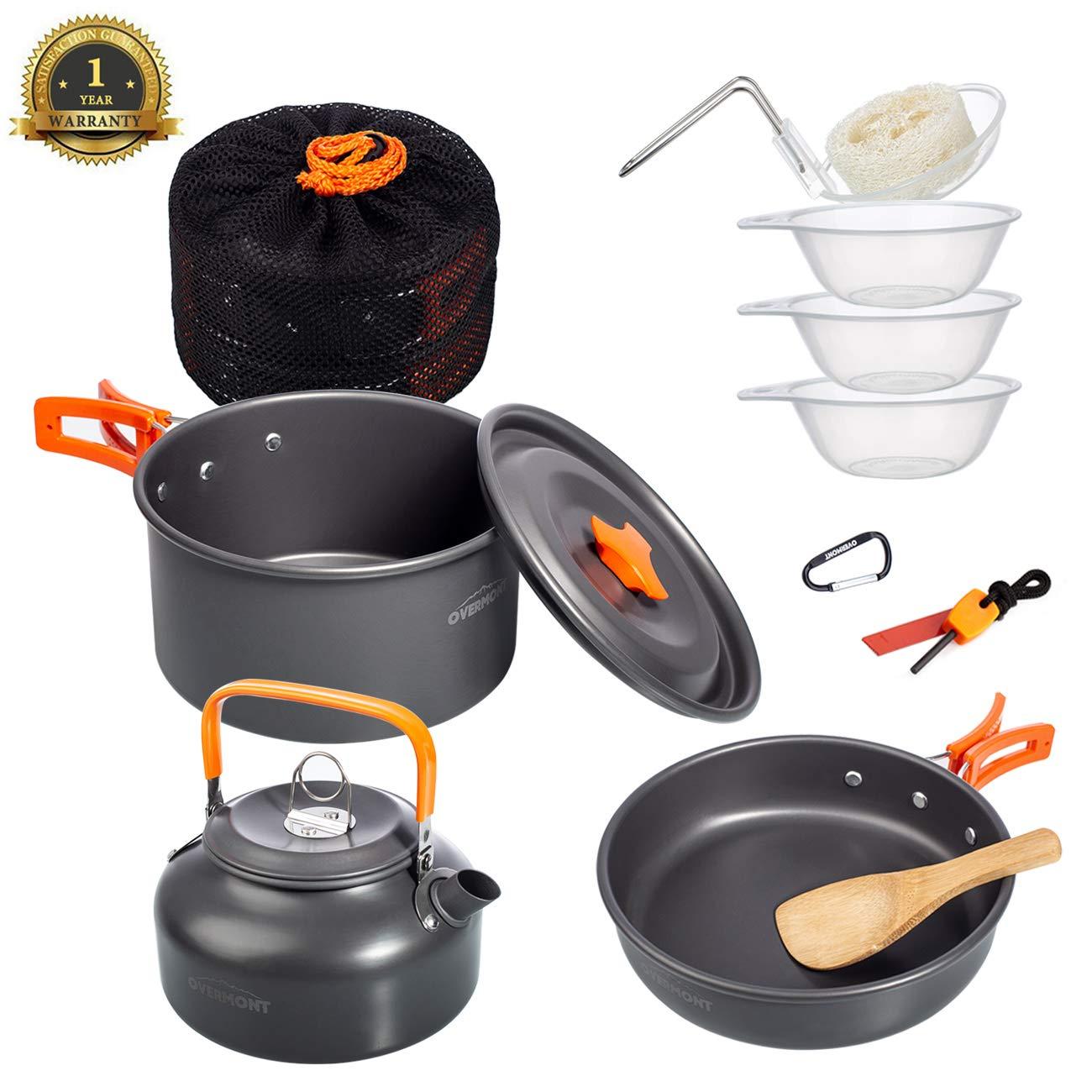 Pot Set Camping Cookware Pot /& Pan Plus Stove Set Mess Kit Backpacking Outdoor Cooking Bowl Made of Lightweight Aluminum Material Small /& Compact Foldable Handles