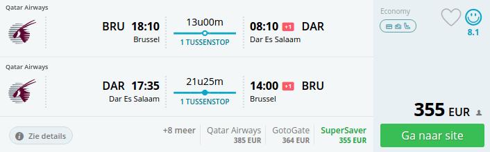 Brussel - Dar Es Salaam - €355