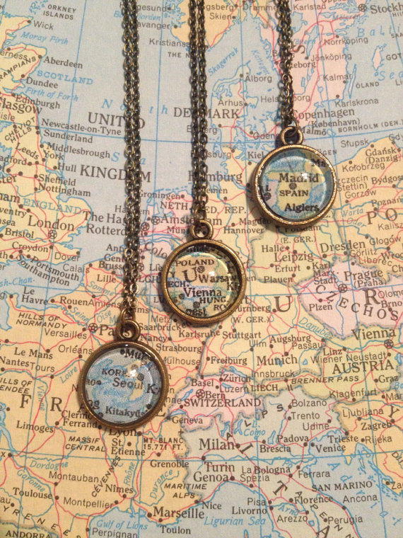 Tiny map necklace
