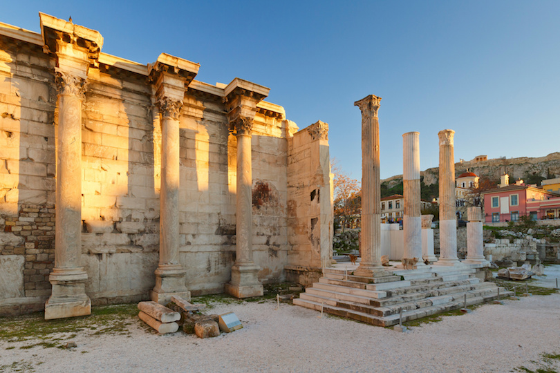 Remains of the Hadrian's Library in Athens, Greece.