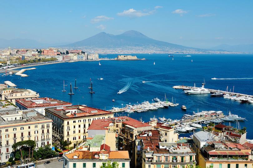 Naples panoramic view with Vesuvius