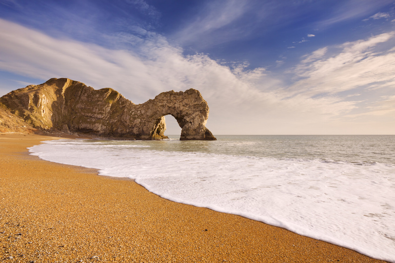 Durdle Door arch in Southern England on a sunny day