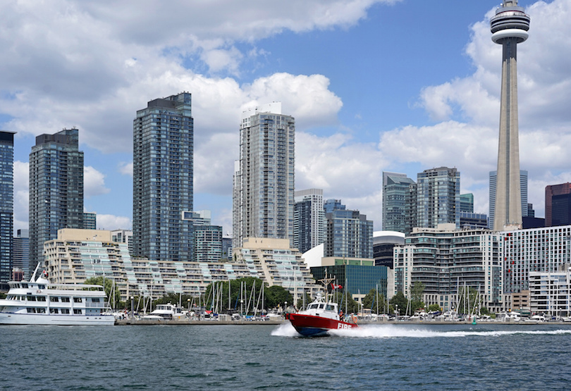 Fire boat speeding to an emergency on Toronto's waterfront