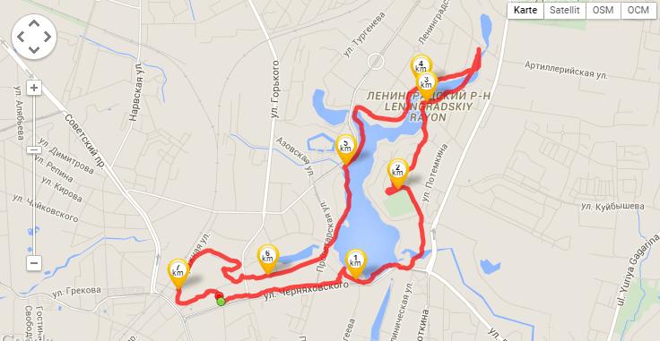 My jogging route through Kaliningrad