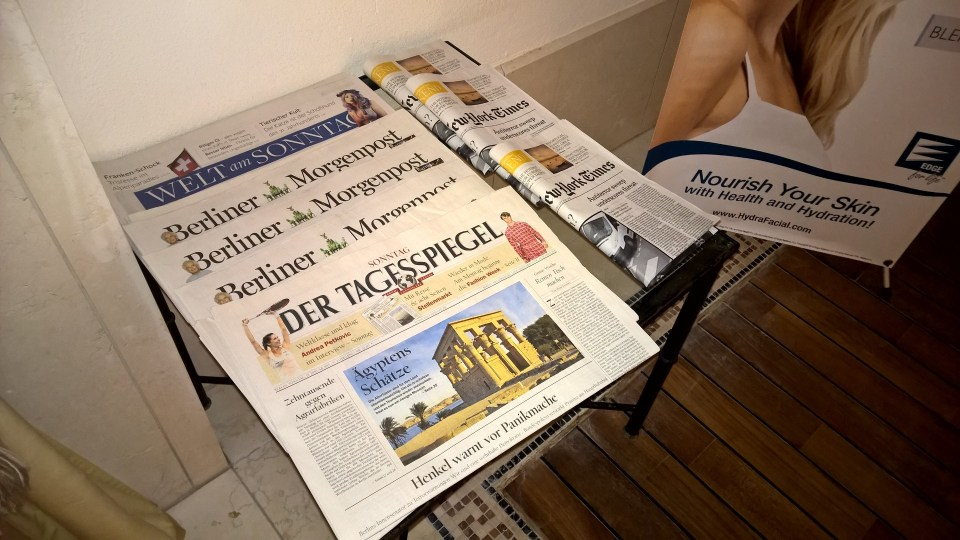 Newspapers are available in the Spa for free