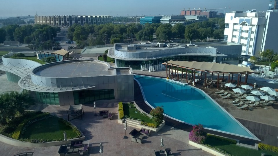 View of the outdoor pool and the surrounding area