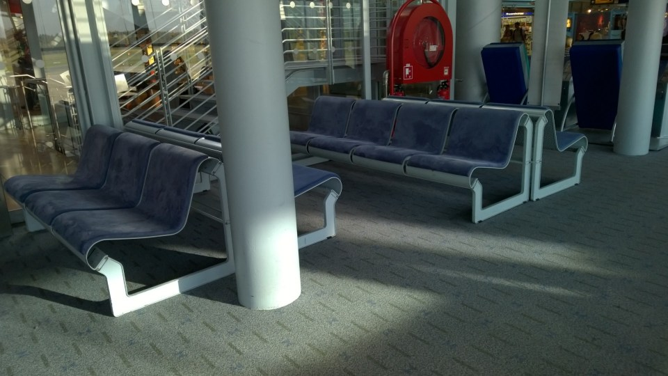 Not really good place to sleep: Benches in the waiting area