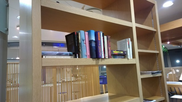A nice little touch: Books in the BA Lounge