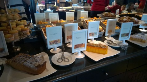 Pastries and cakes at the breakfast buffet