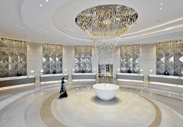 The opulent lobby of the JW Marriott Mumbai Sahar