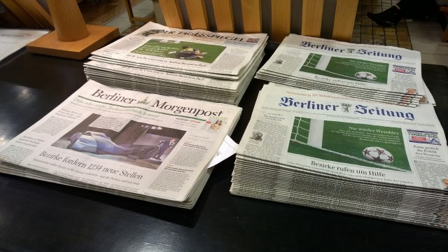 Newspapers are replenished daily