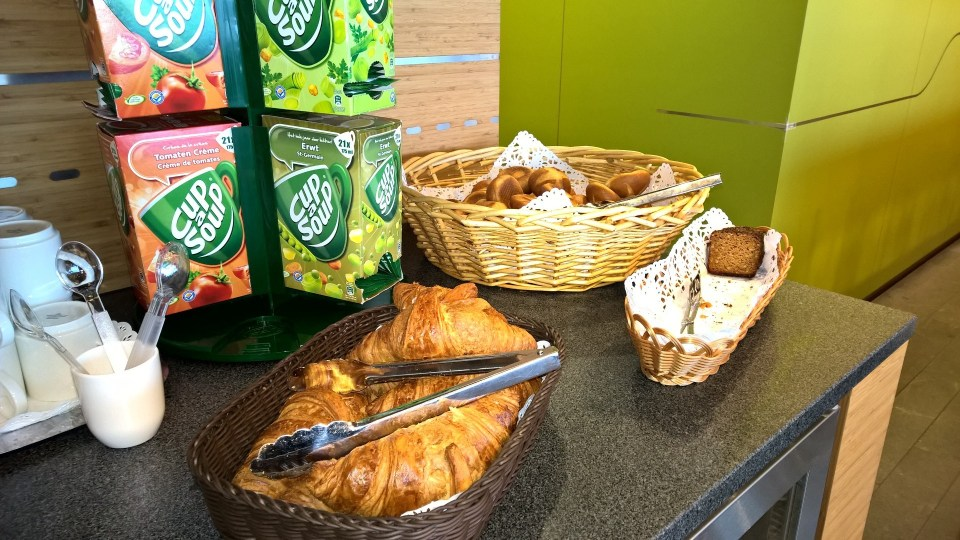 Cup Soups and freshly baked croissants in The Lounge by Luxair