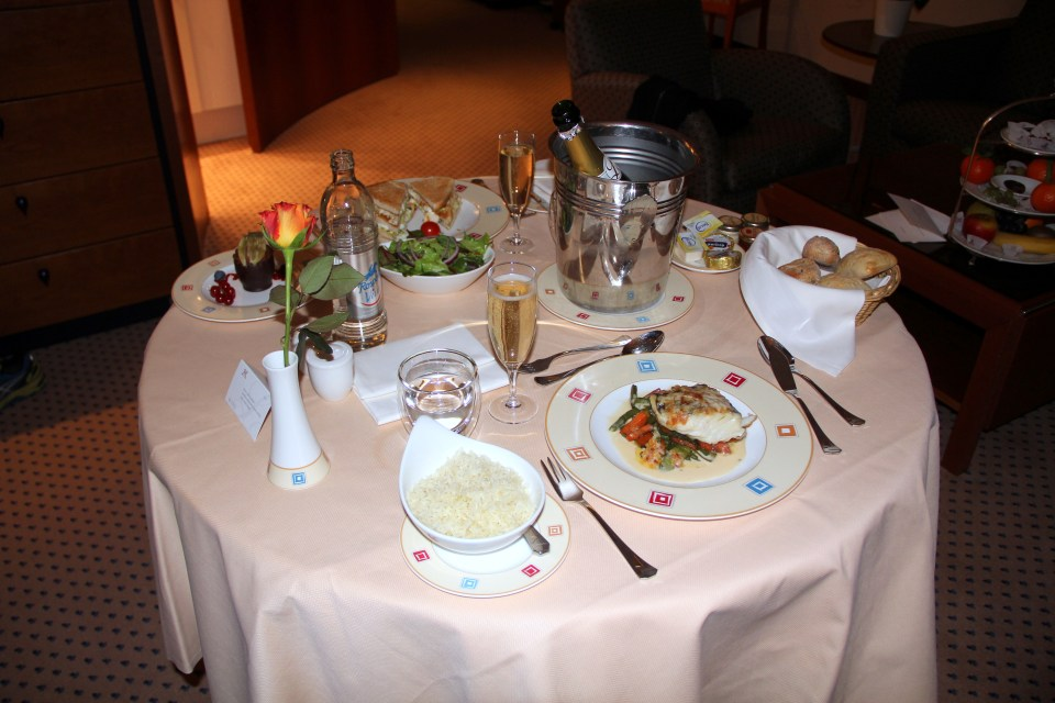 We went for a room service dinner at Le Royal Hotel