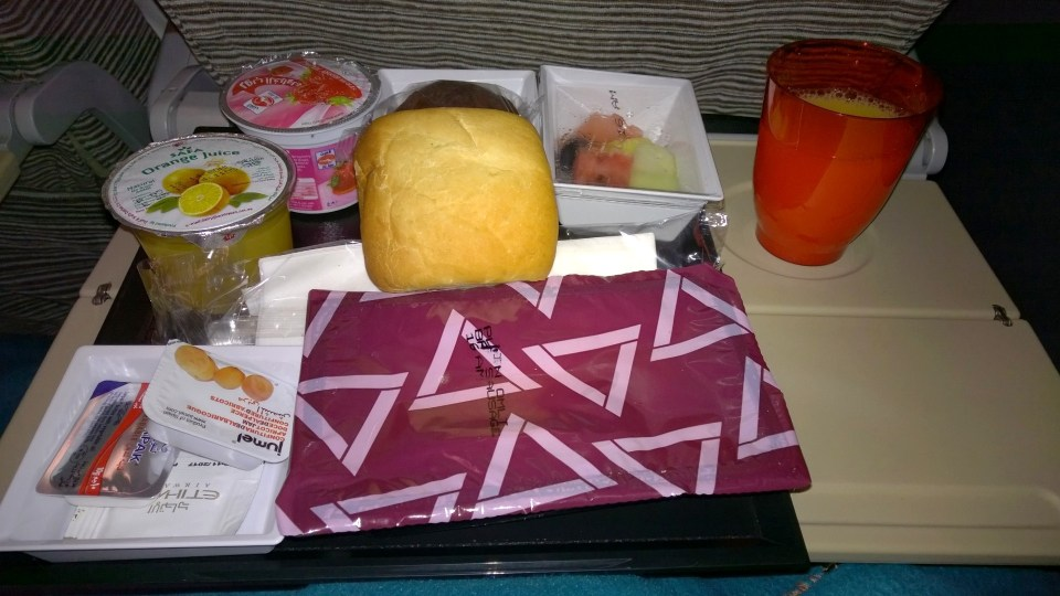 Breakfast tray in the Etihad Airways Economy Class
