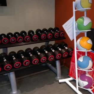 There are several free weights available at the gym