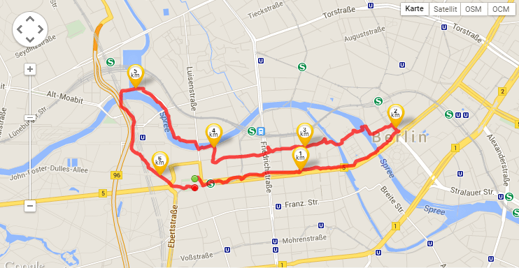 My jogging route through Berlin (Tracked by Runtastic)