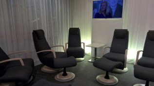 Relaxation area in the Finnair Lounge
