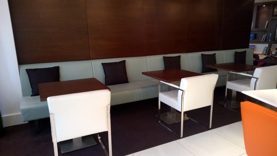 Dining table in the Etihad Business Class Lounge