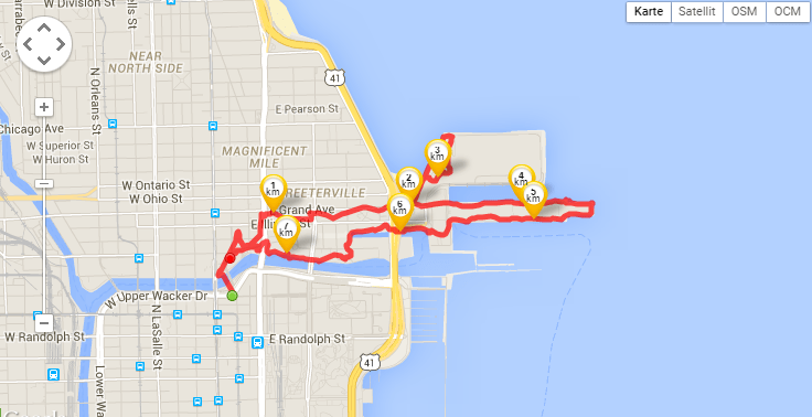 My jogging route in Chicago (tracked by Runtastic)