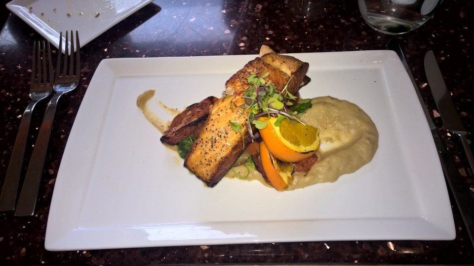 Salmon in a creamy sauce at the Aragosta Bar and Bistro