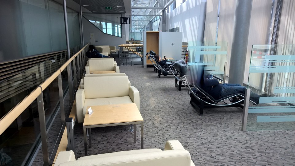 The upper floor of the Business Lounge Riga offers relaxed seating