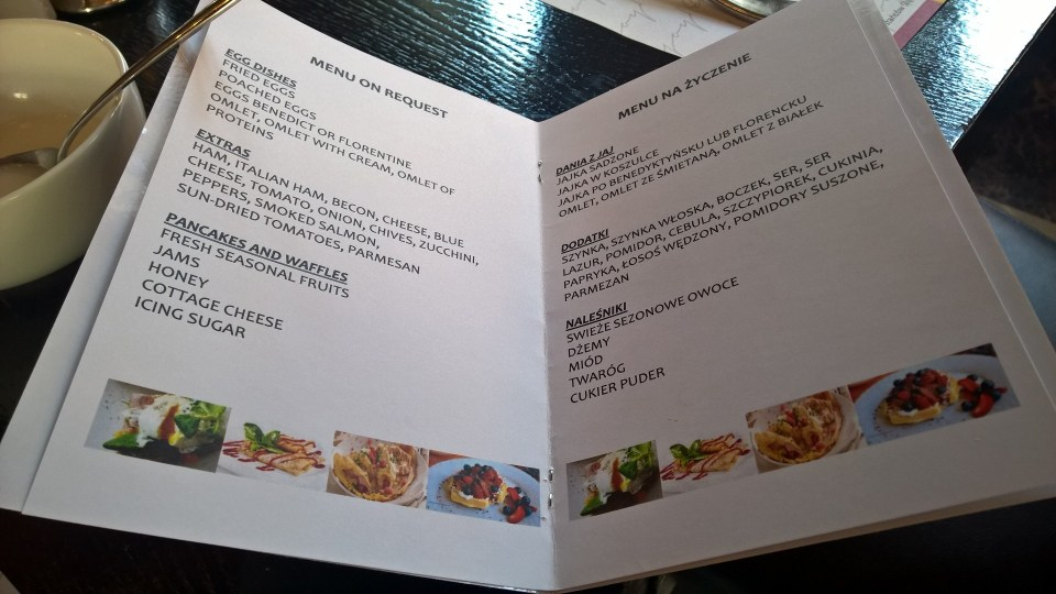 Breakfast Menu with several hot choices