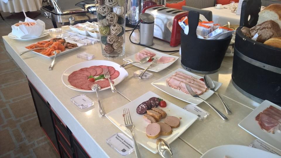 The breakfast buffet at Hotel am Schlossgarten Stuttgart is very good