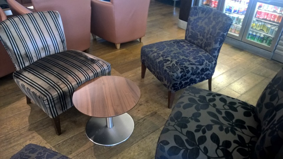 One of the comfortable seating arrangements in the BA Galleries Lounge South