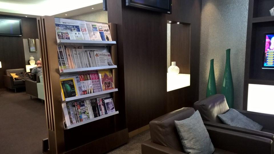 Etihad Lounge Paris Newspapers